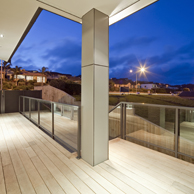 Viking full height, framed glass balustrade with rectangular handrail