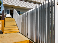 Vertical Batten Pool Fence with Gate.