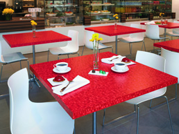 Formica Anniversary Collection Red Ellipse used in coffee tables