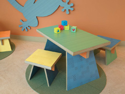 Formica Anniversary Collection colours used on children's furniture at a hospital