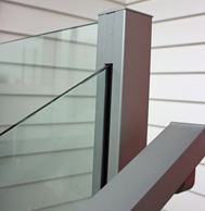 Edge semi-frameless glass balustrade with laminated toughened safety glass, no top rail needed