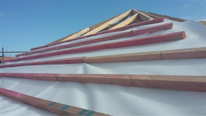 Fire Retardant, Self Support synthetic roofing underlay installed
