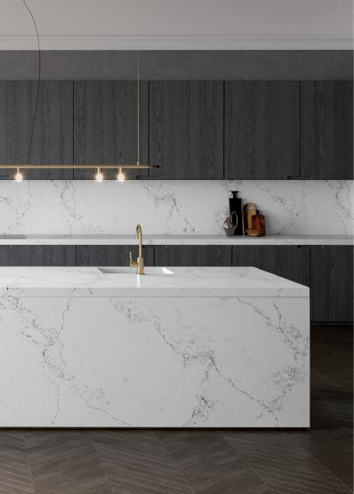 A unique marble quartz, its classical white base coloured in the purest of hues.