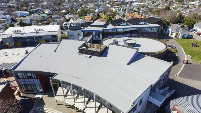 Duo HT 4 Slates/F C180 FC cap sheet as a part of a Duotherm roofing system on Rangi Ruru Girls School in Christchurch. Finished in 2015